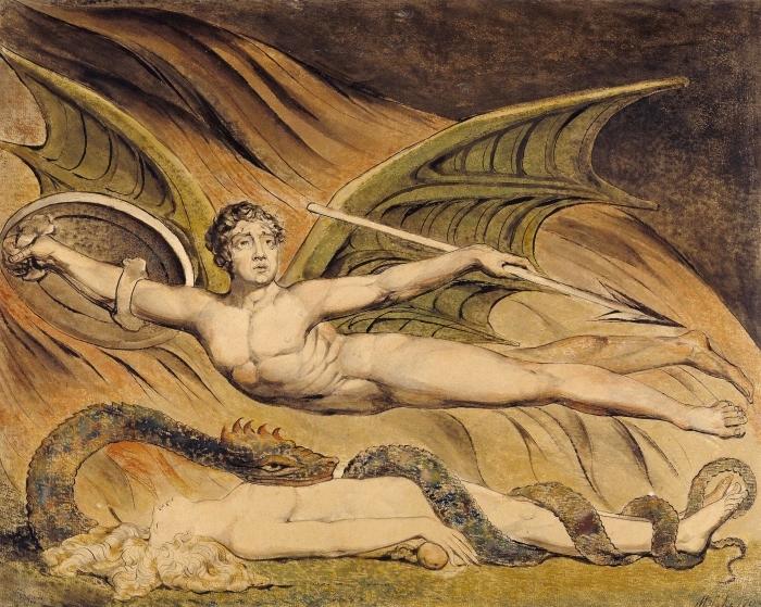 Pixerstick Aufkleber William Blake - Satan frohlockt über Eva - Reproduktion