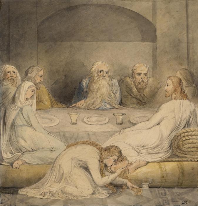 Naklejka Pixerstick William Blake - Jawnogrzesznica namaszcza nogi Jezusowi - Reprodukcje