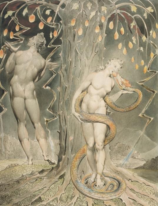 Naklejka Pixerstick William Blake - Ewa kuszona przez węża - Reprodukcje