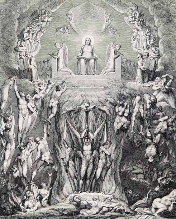 Papier peint vinyle William Blake - Une vision du Jugement dernier, - Reproductions