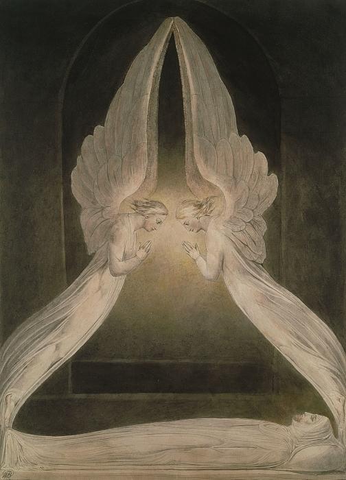 Pixerstick Aufkleber William Blake - Christus im Grab, von Engeln bewacht - Reproduktion