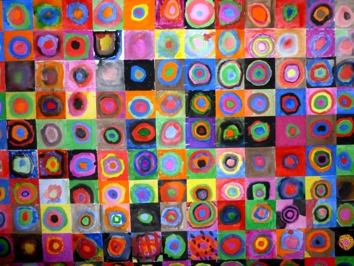 Pixerstick Aufkleber Wassily Kandinsky - Farbstudie - Quadrate und konzentrische Ringe - Reproduktion