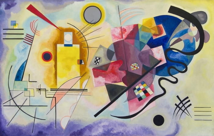 Naklejka Pixerstick Wassily Kandinsky - Żółty czerwony niebieski - Reprodukcje