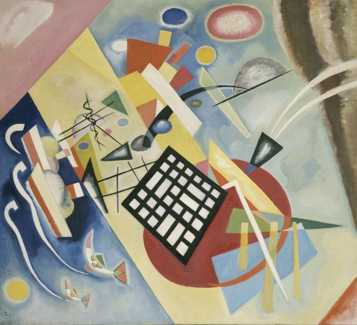 Naklejka Pixerstick Wassily Kandinsky - Czarna krata - Reprodukcje