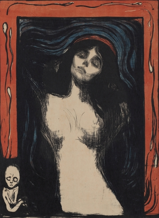 Vinilo Pixerstick Edvard Munch - Virgen - Reproducciones