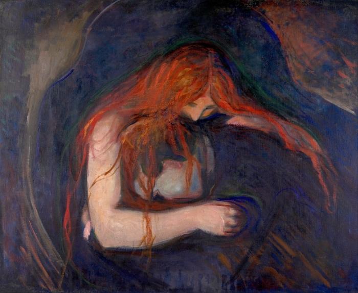 Naklejka Pixerstick Edvard Munch - Wampir - Reprodukcje
