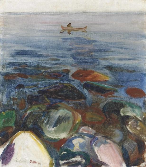 Naklejka Pixerstick Edvard Munch - Łódź na morzu - Reprodukcje