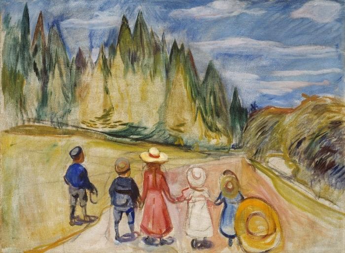 Naklejka Pixerstick Edvard Munch - Bajkowy Las - Reprodukcje