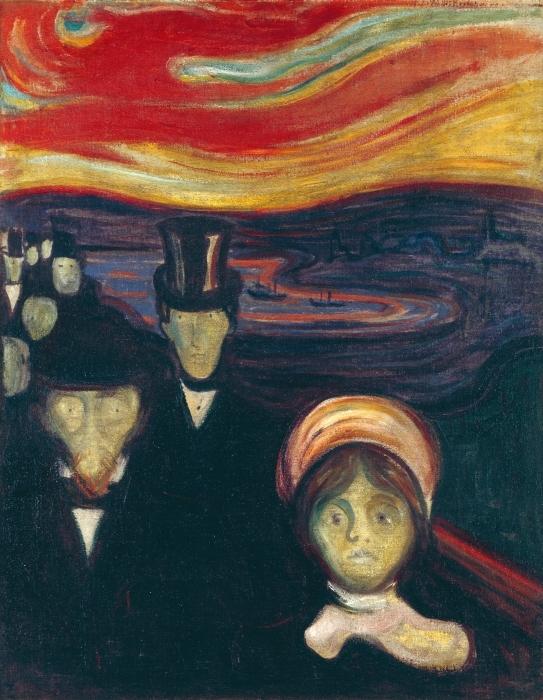 Naklejka Pixerstick Edvard Munch - Niepokój - Reprodukcje
