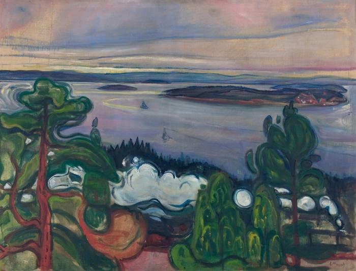 Naklejka Pixerstick Edvard Munch - Dym pociągu - Reprodukcje