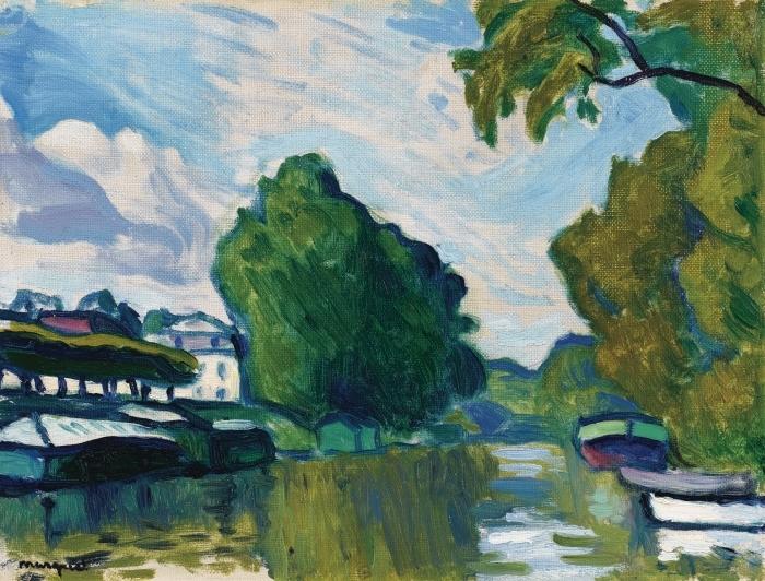 Papier peint vinyle Albert Marquet - Poissy, Bords de Seine - Reproductions
