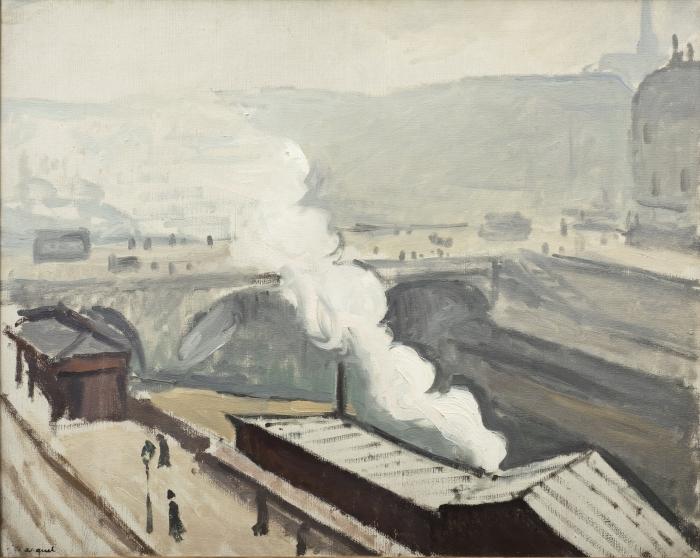 Papier peint vinyle Albert Marquet - Quai Saint-Michel avec fumée - Reproductions