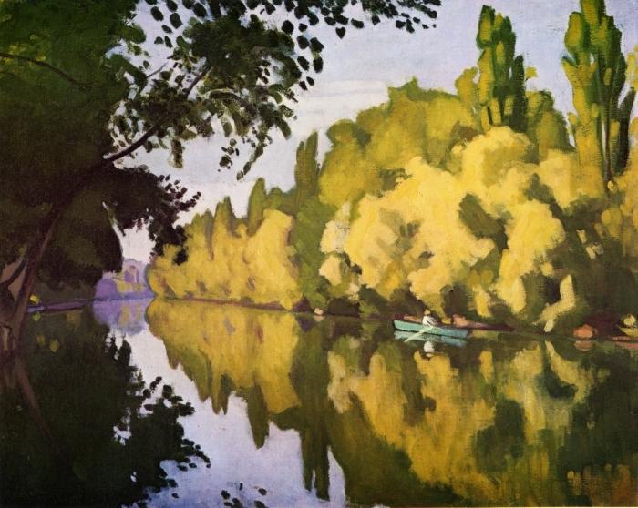 Papier peint vinyle Albert Marquet - La Varenne Saint- Hilaire, la barque - Reproductions