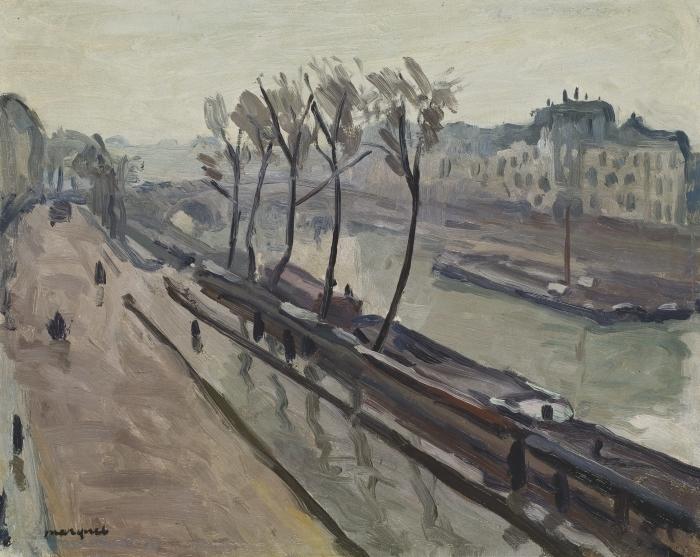 Papier peint vinyle Albert Marquet - Le quai des Grands-Augustins sous la pluie - Reproductions