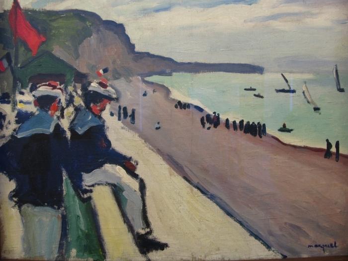 Naklejka Pixerstick Albert Marquet - Plaża w Fécamp - Reproductions