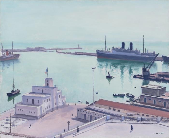 Papier peint vinyle Albert Marquet - Port d'Alger (La Douane ou l'Amirauté) - Reproductions