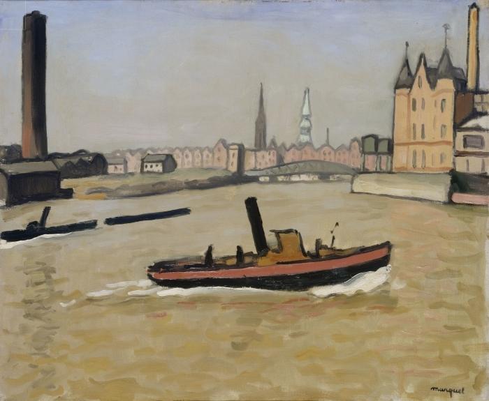 Papier peint vinyle Albert Marquet - Le port de Hambourg - Reproductions