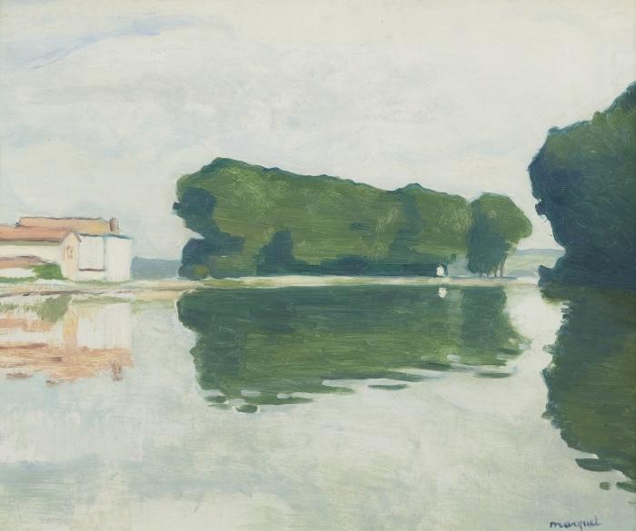 Papier peint vinyle Albert Marquet - Samois, L'ile (Les Peupliers) - Reproductions