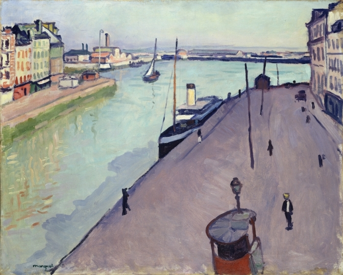 Naklejka Pixerstick Albert Marquet - Widok na port w Hawrze (nabrzeże Notre Dame) - Reproductions