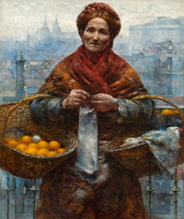 Sticker Pixerstick Aleksander Gierymski - Juive avec des oranges - Reproductions