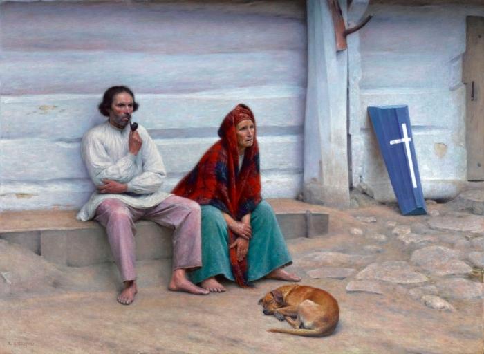 Papier peint vinyle Aleksander Gierymski - Cercueil paysan - Reproductions