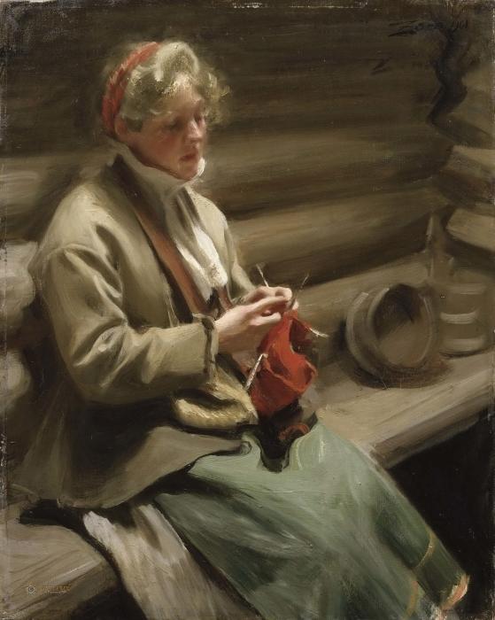 Fototapeta winylowa Anders Zorn - Dziewczyna z Dalarny robiąca na drutach - Reproductions