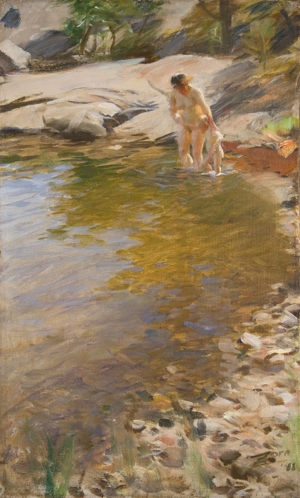Sticker Pixerstick Anders Zorn - Toilette matinale - Reproductions