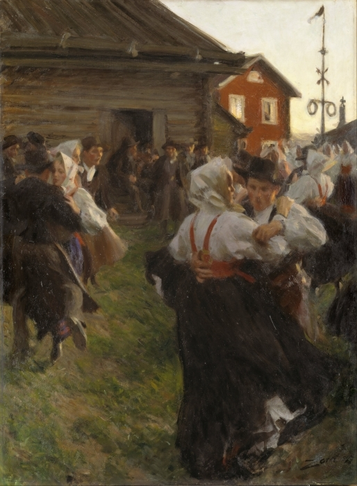 Abwaschbare Fototapete Anders Zorn - Mittsommertanzt - Reproductions
