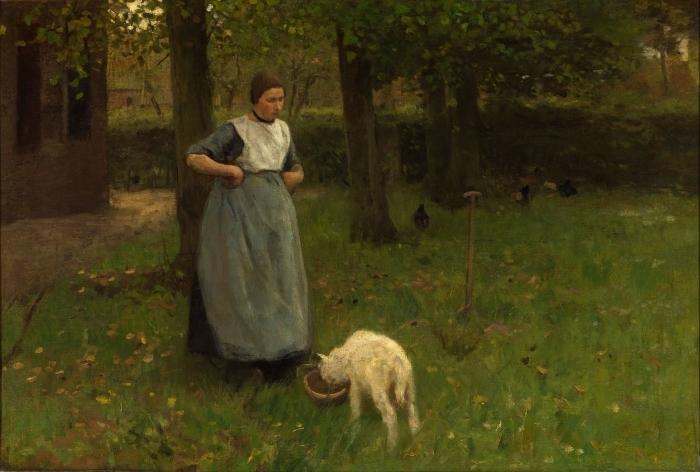 Papier peint vinyle Anton Mauve - Femme de Laren avec Agneau - Reproductions