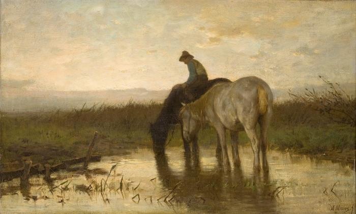 Naklejka Pixerstick Anton Mauve - Konie u wodopoju - Reproductions
