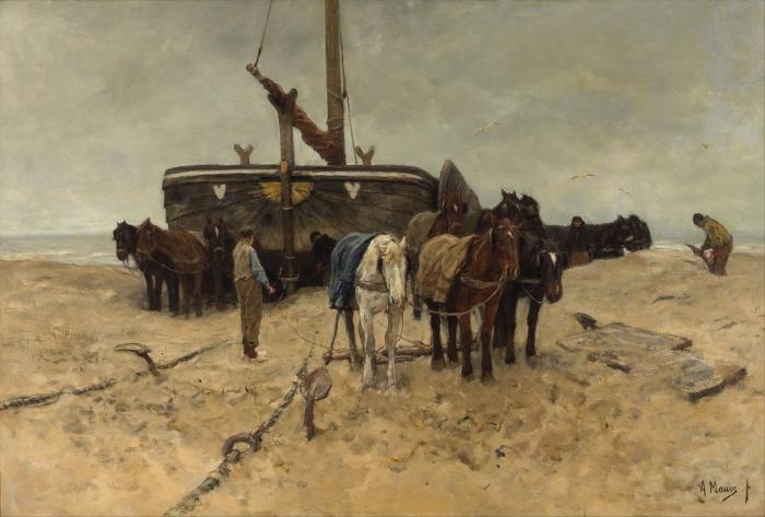 Papier peint vinyle Anton Mauve - Bateau de pêche sur la plage - Reproductions