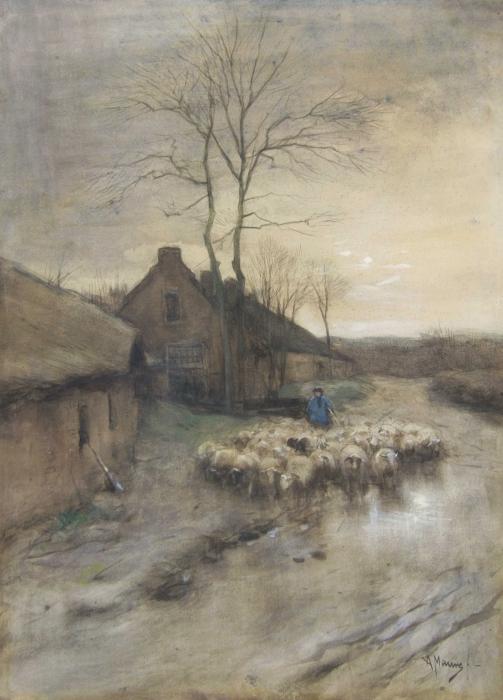 Naklejka Pixerstick Anton Mauve - Pasterz z owcami w 't Gooi - Reproductions