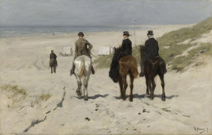 Pixerstick Aufkleber Anton Mauve - Morgenfahrt am Strand - Reproductions
