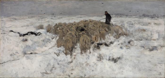 Papier peint vinyle Anton Mauve - Troupeau de moutons avec berger dans la neige - Reproductions