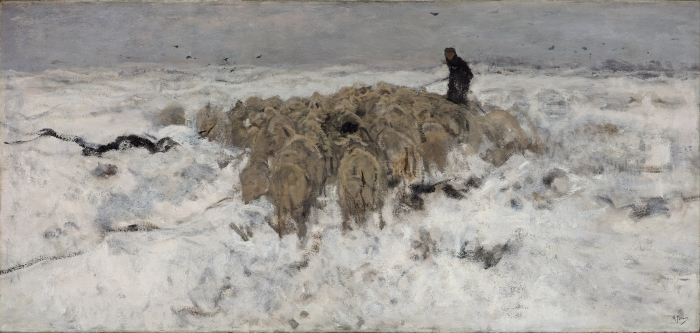 Anton Mauve - Flock of Sheep with Shepherd in the Snow Vinyl Wall Mural - Reproductions