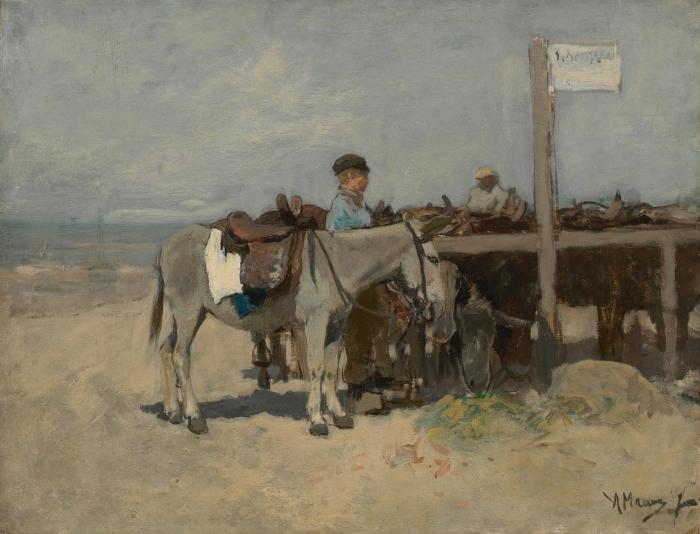 Papier peint vinyle Anton Mauve - Stand pour les ânes sur la plage de Scheveningen - Reproductions