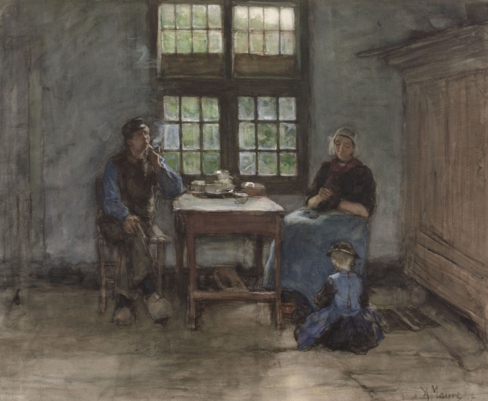 Naklejka Pixerstick Anton Mauve - Wnętrze domu w Laren - Reproductions