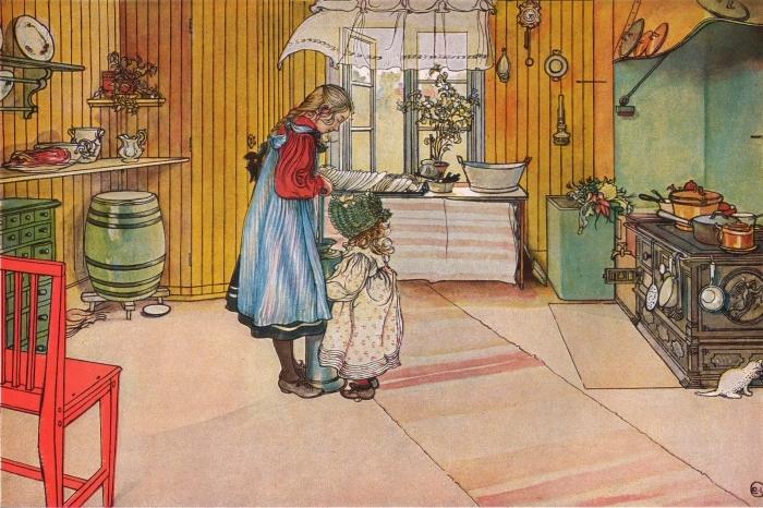 Papier peint vinyle Carl Larsson - La Cuisine - Reproductions