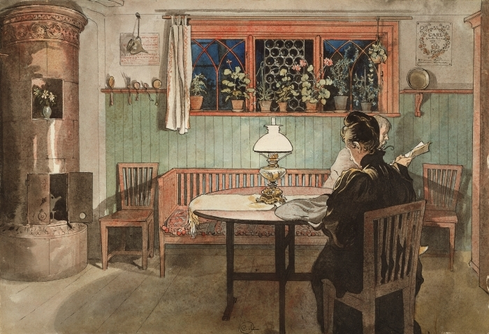 Naklejka Pixerstick Carl Larsson - Gdy dzieci śpią - Reproductions