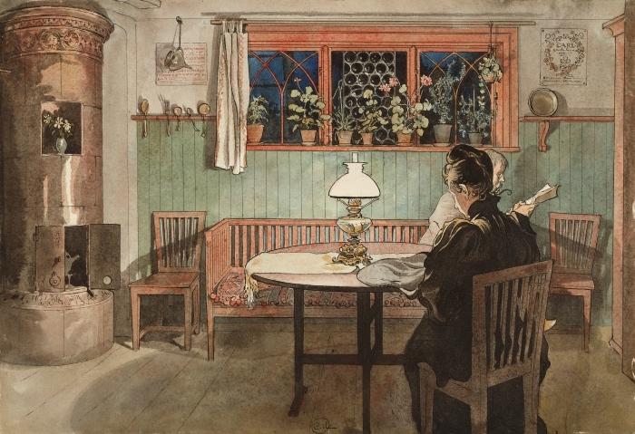 Sticker Pixerstick Carl Larsson - Quand les enfants sont couchés - Reproductions