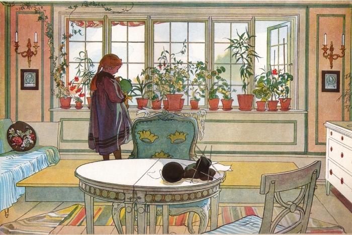 Pixerstick Sticker Carl Larsson - Květy na okenním rámu - Reproductions