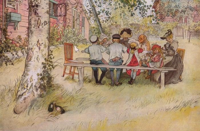 Papier peint vinyle Carl Larsson - Petit déjeuner sous le grand bouleau - Reproductions