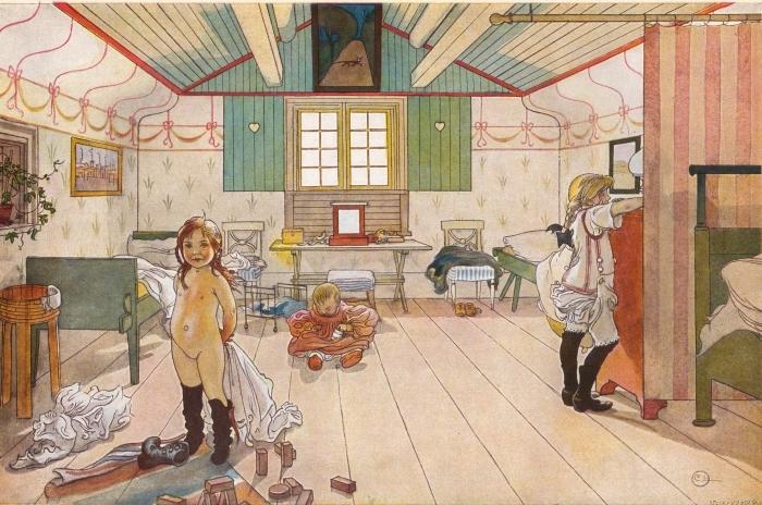 Naklejka Pixerstick Carl Larsson - Sypialnia mamy i dziewczynek - Reproductions