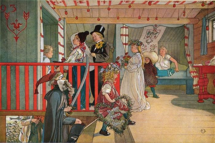 Pixerstick Aufkleber Carl Larsson - Namenstag im Schuppen - Reproductions