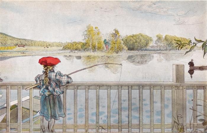 Pixerstick Aufkleber Carl Larsson - Lisbeth fischt - Reproductions