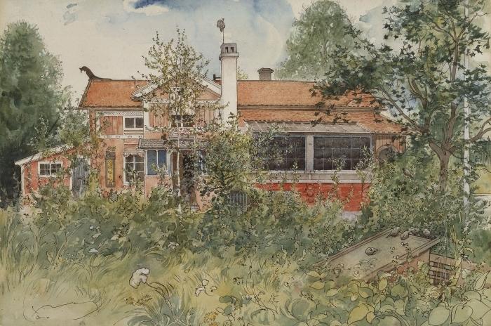 Naklejka Pixerstick Carl Larsson - Dom w słońcu - Reproductions