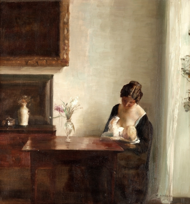 Fototapeta winylowa Carl Vilhelm Holsøe - Wnętrze z kobietą i dzieckiem - Reproductions