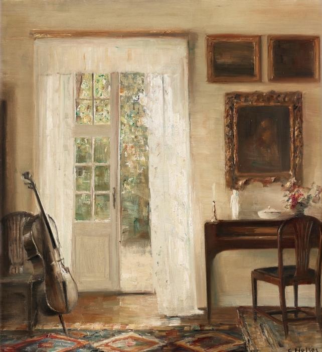 Papier peint vinyle Carl Vilhelm Holsøe - Intérieur avec un violoncelle - Reproductions