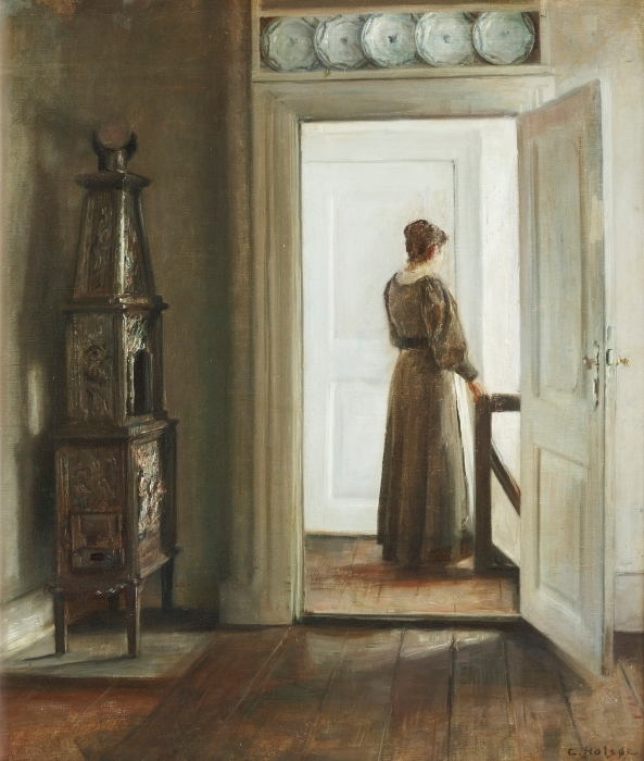 Naklejka Pixerstick Carl Vilhelm Holsøe - Wnętrze z kobietą - Reproductions