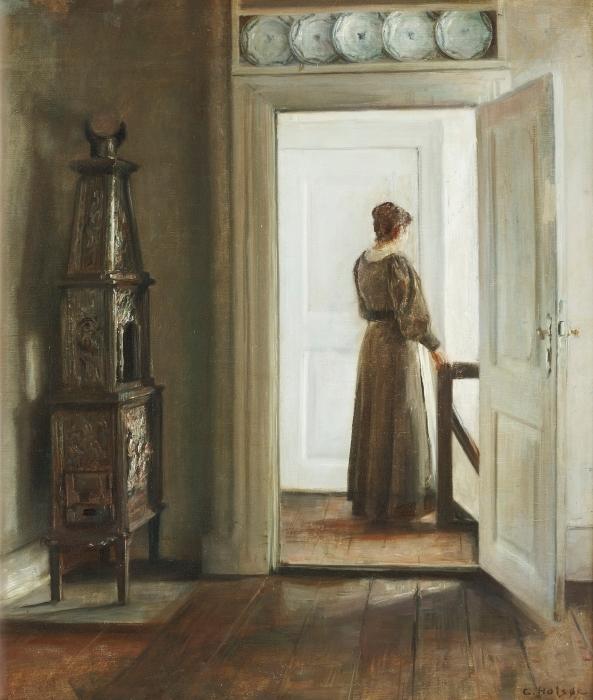 Papier peint vinyle Carl Vilhelm Holsøe - Intérieur avec une femme - Reproductions